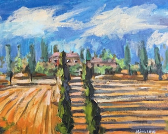 "Fall in Tuscany 10x20"" acrylics on canvas original painting Italy Autumn Colors Cypress Trees"