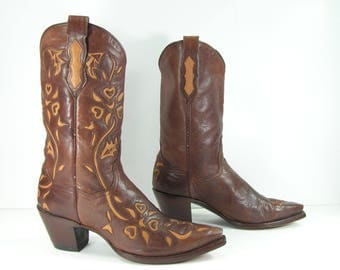 vintage cowboy boots women's 9 M B tan flower and heart inlays dan post leather cowgirl western