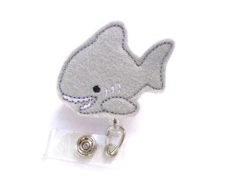 Cute Badge Holder Retractable badge reel - Shark - grey felt - nurse badge reel medical badge holder - ocean surfer great white