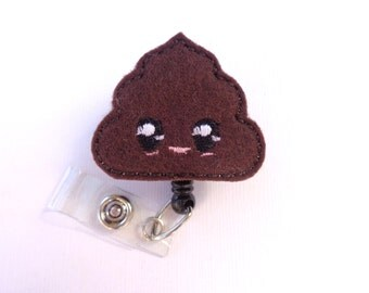 SALE - Retractable Badge Holder Retractable - Kawaii Poop - brown felt - nurse medical staff veterinarian badge reel