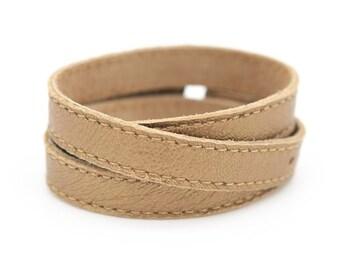 Metallic leather cuff, Bronze wrap bracelet, Champagne leather bracelet  - the TWIST