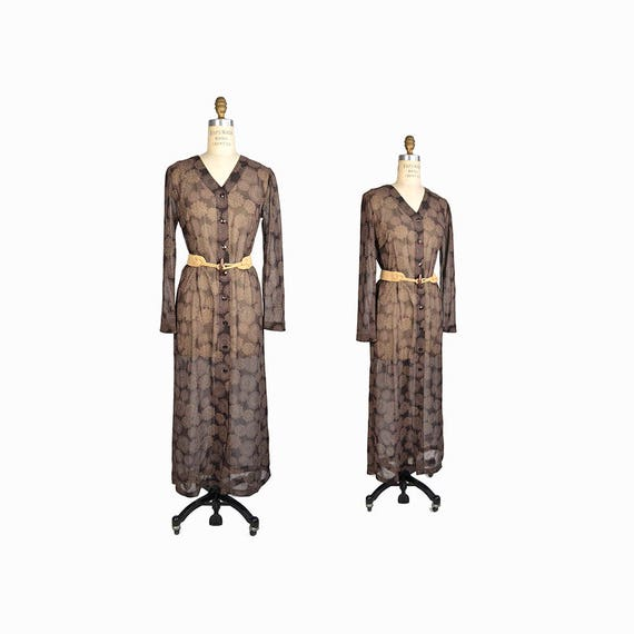 Vintage 90s Sheer Boho Maxi Dress In Brown Floral / Festival Maxi Dress - women's xs