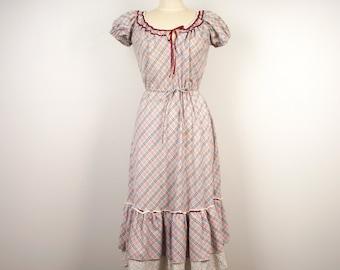 70s Vintage plaid gingham maxi dress prairie boho short puffy sleeve long ruffled dress Renn Faire peasant festival