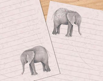Elephant Wedding - A5 Stationery - 12, 24 or 48 sheets