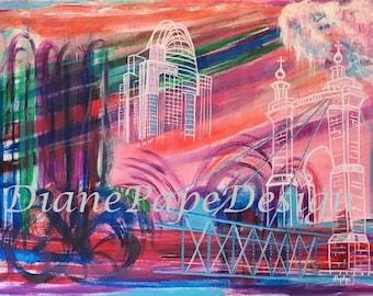 NEW! Downtown Cincinnati 11x14 Signed Art Print - Contemporary City, Modern, Bright Jewel Tones, John Roebling Bridge, Tiara Tower