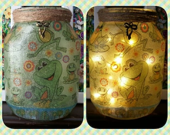 Frog Nightlight, Upcycled Jar, Decoupage, Fairy lights, lamp, recycled, rustic, frog