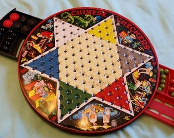 chinese checkers tin game board