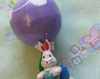 pastel purple wooden hot air balloon ornament