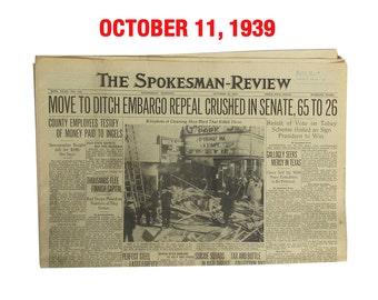 "October, 1939 Newspaper - Spokane, WA Spokesman-Review ""World War Two News"""