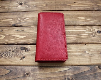 RED Android Phone Wallet in Italian Vegetable Tanned Leather (Free Personalization) Hand Stitched >> Super sturdy Wallet