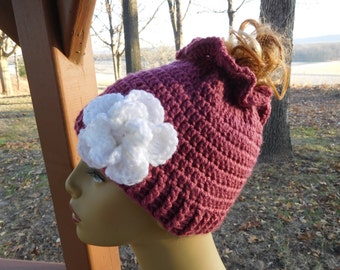 Crocheted Messy Bun/ Ponytail Beanie in Dk. Rose with Detachable  Flower in White