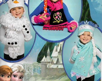 Simplicity 0203 or 8029 Frozen, Anna, Elsa, Olaf Costume hat, mittens, scarves  Uncut new