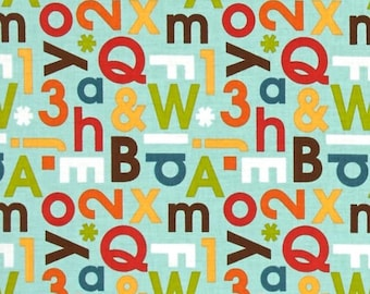 Mint Green Cotton Fabric in Yard, 3/4, Half and 1/4 School Days Alphabet Mint for Quilting Sewing Applique by Zoe Pearn Riley Blake fabrics