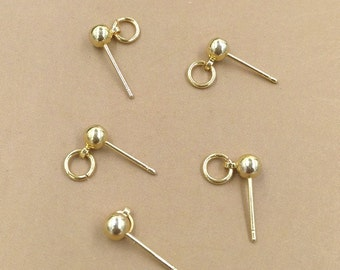 100PCS Brass Solid Bead Earring Posts W/ 5mm Jump Ring Raw Brass / Antique Bronze/ Gold/ Silver Plated Earrings Ear Studs Wholesale- Z4654