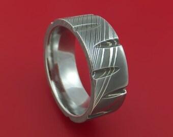 Damascus Steel Wedge Cut Ring Custom Made Band