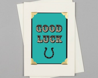 """Handmade Good Luck Card """"Good Luck"""" in Vintage Style with Circus Typography and Horseshoe"""