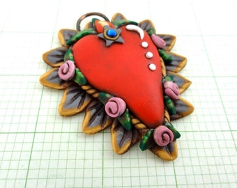 Sacred heart with pink roses by Marie Segal 2010