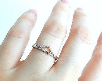 Dainty heart ring, 925 Sterling Silver or Gold filled