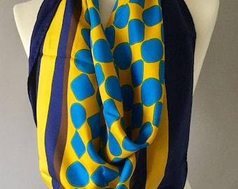 Yves Saint Laurent Vintage Yellow and Blue polka dot Scarf