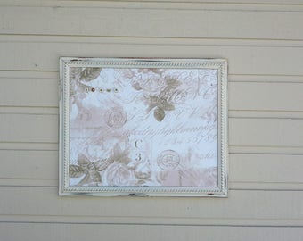 Framed Magnetboard in a vintage painted Off-white frame, stunning pink and white high end cotton Office Message Center, new baby decor