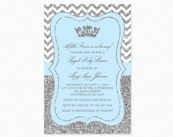 Prince Baby Shower Invitation, Sky Blue and  Silver Baby Shower Invitation, Little Prince, Silver Glitter, Printable and Printed