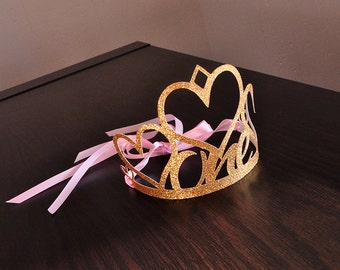 1st Birthday Crown. Handcrafted in 2-3 Business Days.  Pink and Gold First Birthday Party Decoration.  One Crown.