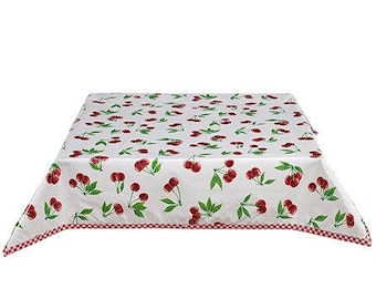Square Cherries on White with Red Gingham Oilcloth tablecloth