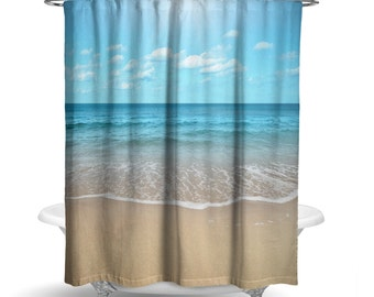 "Beach Sand and Water Shower Curtain/ Photography Print / Bath Curtain/ Standard Size (71""x74"") FABRIC SHOWER CURTAIN - Made To Order"
