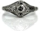 1930's Vintage Diamond Ring Signed Belais .40ctw 18 Kt White Gold European Cut Art Deco Engagement Ring Filigree Antique Engagement Ring!