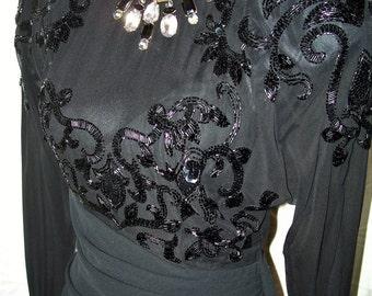 Vintage Casadei Black WIggle Dress w/Sheer Front & Beads/Sequins Sz 6