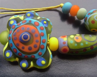 Little Pleasure - Handmade Lampwork Glass Beads (9) by Anne Schelling, SRA