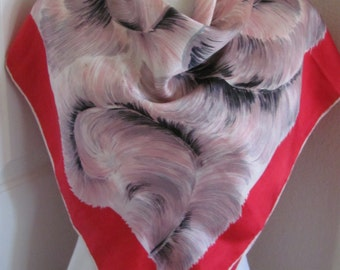 "Beautiful Vintage Red So Soft Silk Scarf  // 34"" Inch 88cm Square // My Favorite"