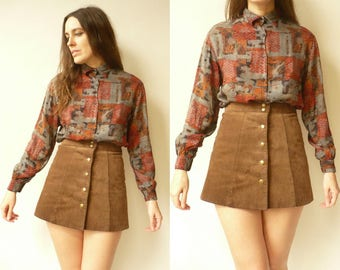 1980's Vintage French Made Retro Printed Slouchy Shirt Top Size S/M