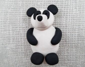 polymer clay panda bear magnet