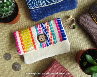Woven Purse Colourful Mexican - Coin Card Holder - Aztec Stripe Coin Pouch