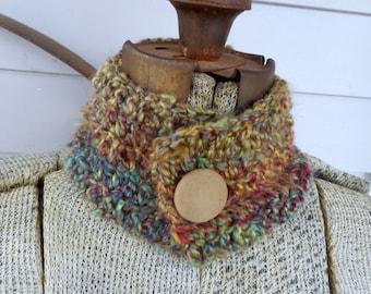 The Fiesta Neck Cowl. Handmade Crochet Southwestern Boho Chic Super Soft Rustic Hand Crocheted Bohemian Homespun Neck wrap
