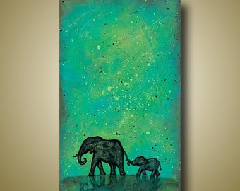 PRINT or GICLEE Reproduction -- Mother and Baby Elephant Art Limited Edition Signed Print -- 12 x 18 -- Only 100 Signed Available  -