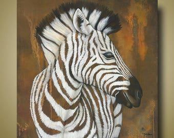 PRINT or GICLEE Reproduction -- Zebra print 12x12 -- Modern Zebra Art -- Serengeti Rockstar