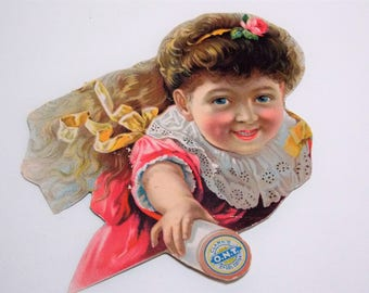 Clarks ONT Spool Cotton Advertising Card Cut Out Little Girl Holding Spool of Thread
