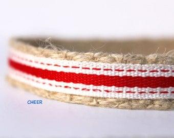 "Red Stripe Dog Collar, 5/8"" Wide Dog Collar, Red Dog Collar, Party Dog Collar, Dog Collar and Leash"