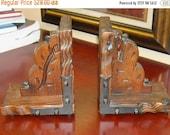 RESERVED Shop Closing Sale Vintage Retro Wooden Carved Bookends Desk Books