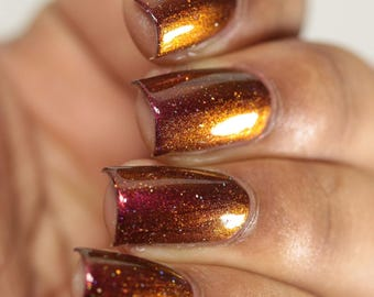 "Nail polish - ""The Descent"" red / orange / olive  multichrome polish"