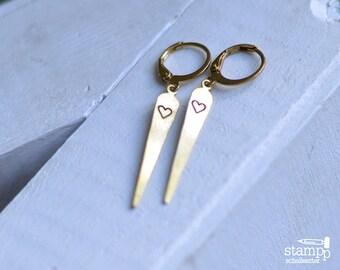Pretty, long HEART earrings//  raw brass hook earrings // hand stamped jewelry