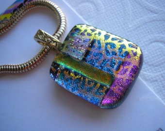 """Glass Pendant Color Blocks with Gold Dichroic Coral Shapes Thick 18"""" Gold Plated Snake Chain Kiln Fused Glass Iridescent Color Changing"""
