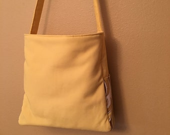 Sam #1748  Yellow Tote, Large Yellow Tote, Vintage Fabric Tote, Cross Body Tote, Cross Body Bag, Shoulder Bag, Knitting Bag, Project Tote,