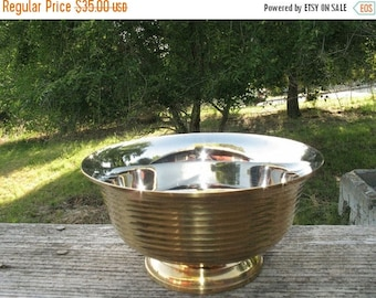 Antique Mid Century INDUSTRIAL CHIC Brass and  Silver Plated Beautiful Bowl Imported from India