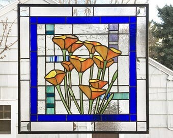"Stained Glass Window Panel--California Poppies Geo-- 18.25"" tall  x  18.75"" wide"