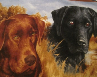 Labradors with Blue Handmade Fleece Blanket - This Blanket is Ready to Ship Now