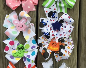 HOLIDAY Bow Set #3 - Large Bows - Boutique Hairbow - Large Hairbow - Little girl bow- Valentines St patrick easter july 4th christmas school
