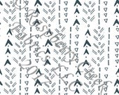 Postal Blue and White Geometric Arrows 4 Way Stretch Jersey Knit Fabric, Fly With Me By Kimberly Henrie for Club Fabrics, PRE-ORDER